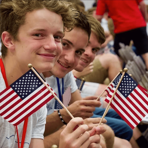 High school students at Badger Boys State on the Ripon College campus