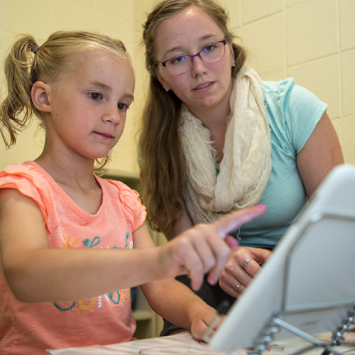 Emily Coates in the Infant and Young Child Cognition Lab