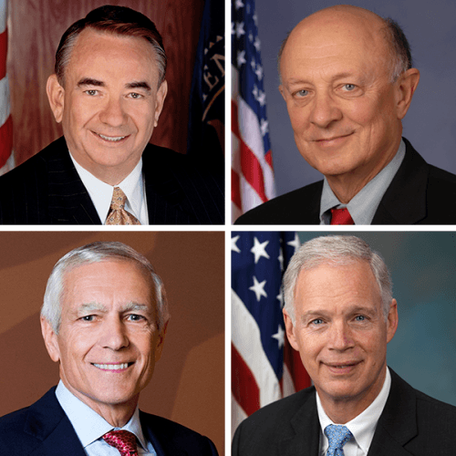 Composite photo of Tommy Thompson, Jim Woolsey, Wesley Clark and Ron Johnson