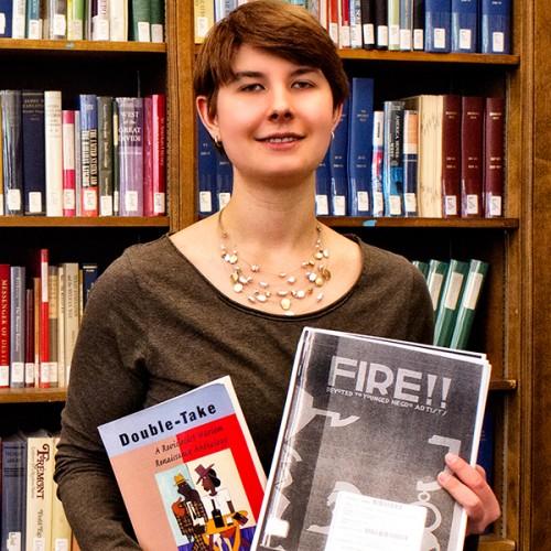 Katie Warczak in Lane Library