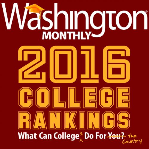 Washington Monthly 2016 College Rankings
