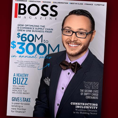Photo of cover of Boss Magazine featuring Ripon College alumnus Alex Royzen