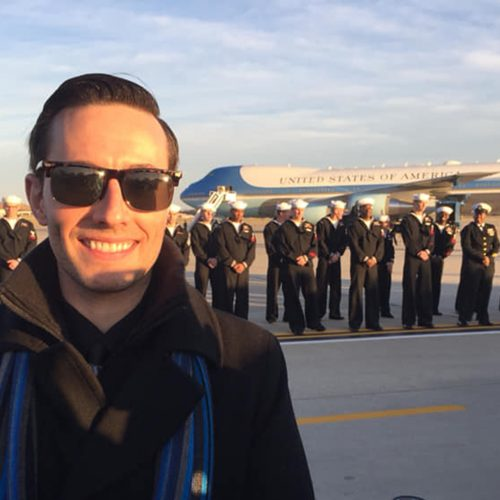 Drew Davis, Class of 2007, was present to receive the body of former President George H.W. Bush at Joint Base Andrews