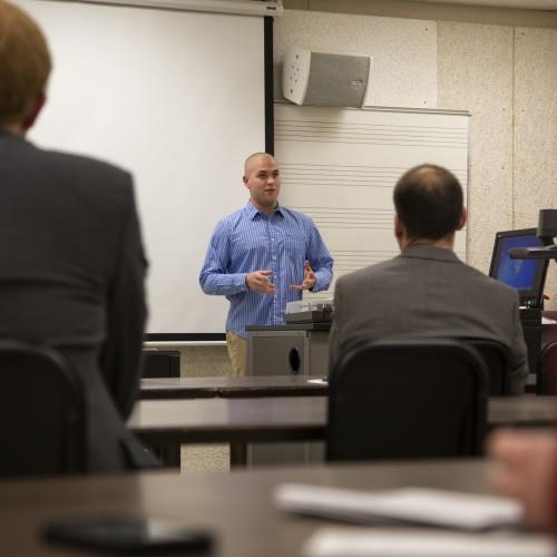 Photo of Jacob Sahr presenting
