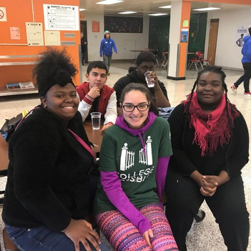 Jenelle Simon, center, and some of her students