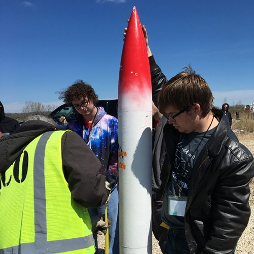 Students with their rocket