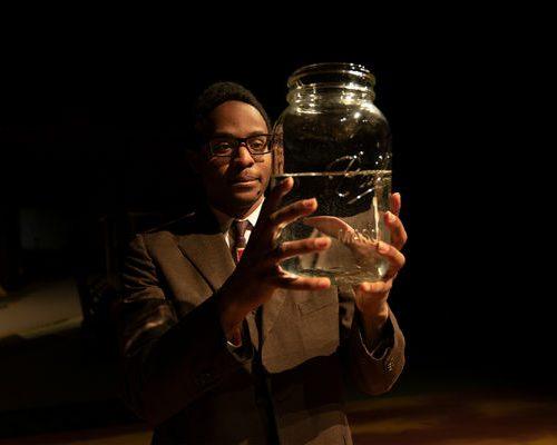 DeShawn Thomas '20 performing on stage.