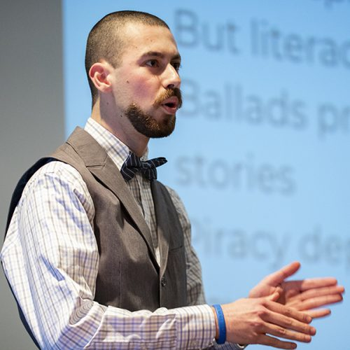 Eric Fels' '19 giving a presentation