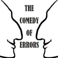 """A doodle of two faces surrounding the title of the play, """"The Comedy of Errors"""""""