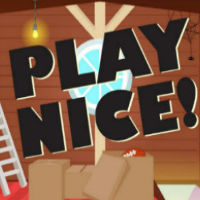 """A cartoon image that reads """"Play Nice!"""""""