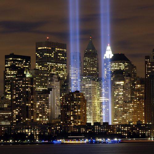 Twin Towers memorial lights