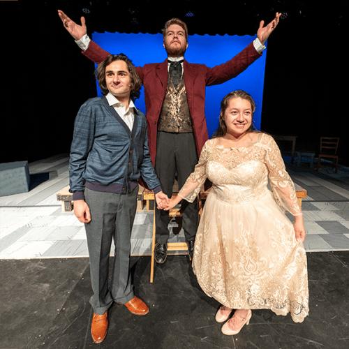 "From left to right, Benjamin Marns as Matt, Wil Bridenhagen as El Gallo and Maria Reber as Luisa rehearse ""The Fantasticks."""