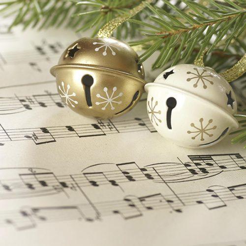 Christmas bells on sheet music