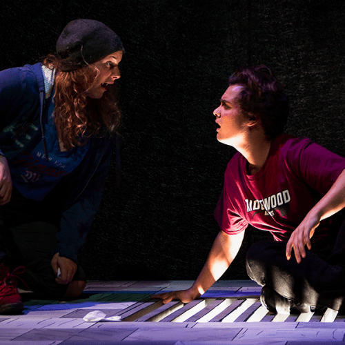 "Makenzie Swart and Logan Zeinert in a scene from ""Play Nice"""