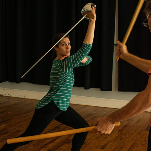 Jessie Lillis in on-stage sword fight